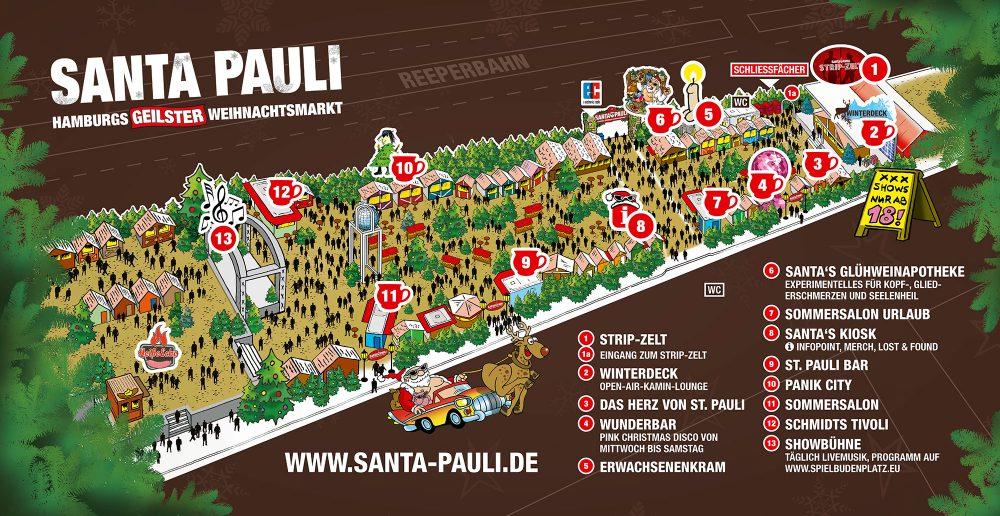Der Lageplan des SANTA PAULI Weihnachtsmarkts 2019